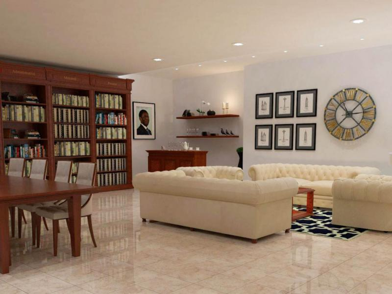 Biblioteca con zona de lectura